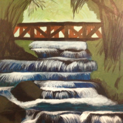 Landscape Oil Painting, Waterfall